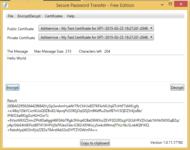 Screenshot Secure Password Transfer plain text to encrypted text