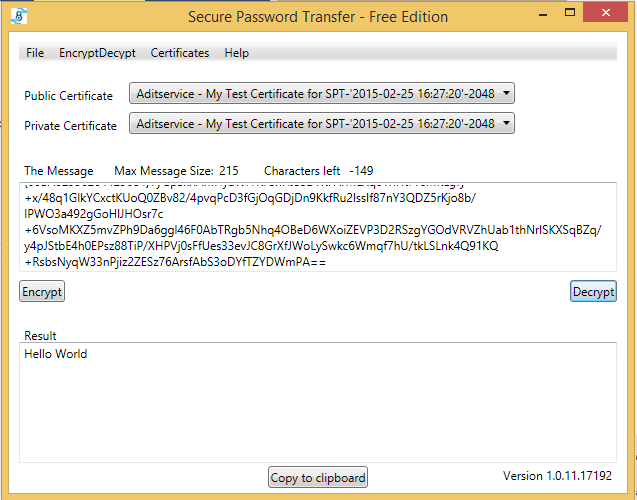Screenshot Secure Password Transfer encrypted text to plain text